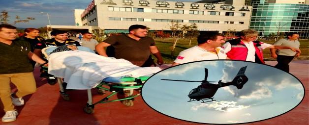 Ambulans helikopter yaşlı hasta için havalandı