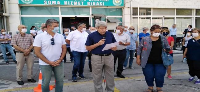 SOMA'DA SU ZAMLARI PROTESTO EDİLDİ