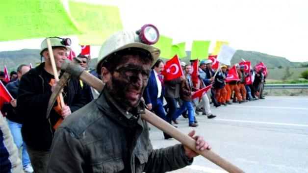 Soma'ya Gitmek İstemeyen Madencilerden Eylem